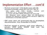 implementation effort cont d8