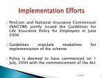 implementation efforts