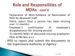 role and responsilities of mdas cont d