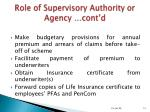 role of supervisory authority or agency cont d13