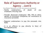 role of supervisory authority or agency cont d14