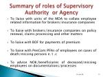 summary of roles of supervisory authority or agency