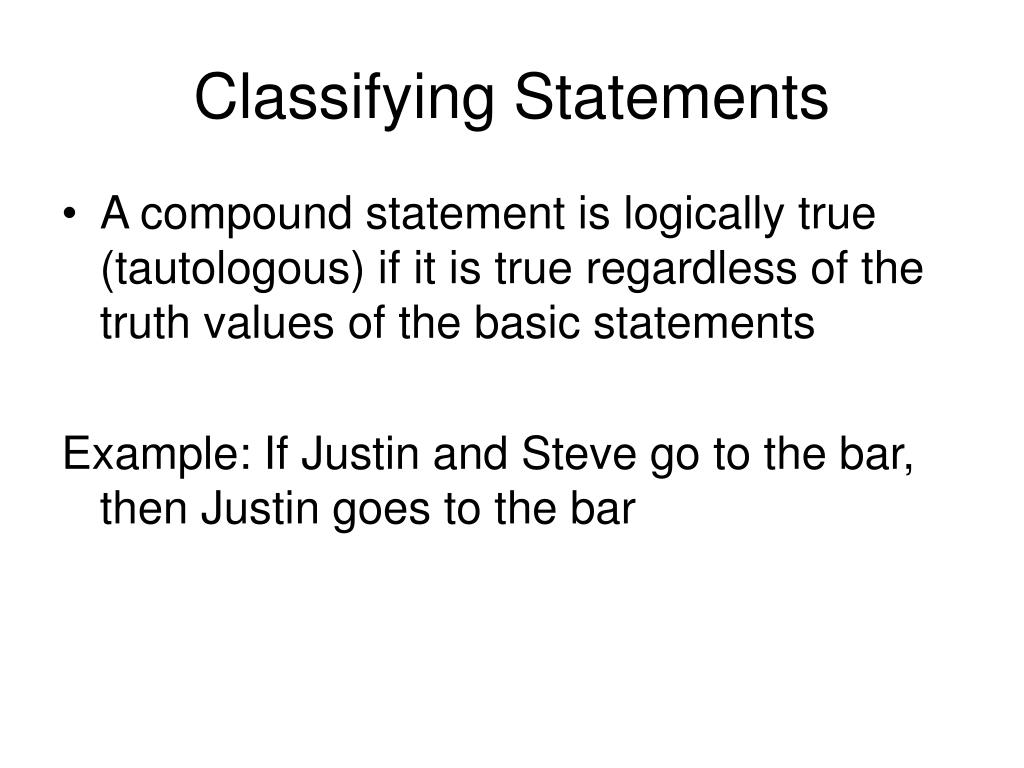 Classifying Statements