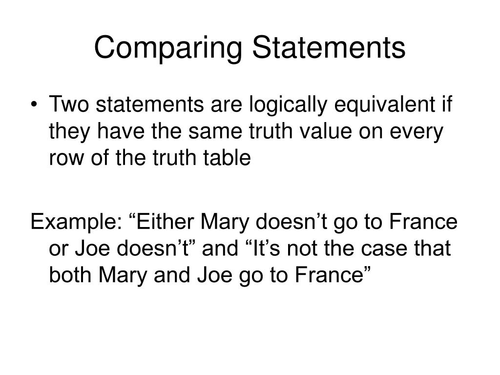 Comparing Statements