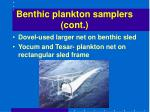 benthic plankton samplers cont