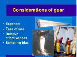 considerations of gear