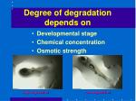 degree of degradation depends on
