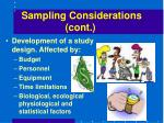 sampling considerations cont