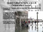quand il pleut en italie y a t il l acqua alta venise