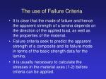 the use of failure criteria