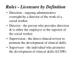 rules licensure by definition
