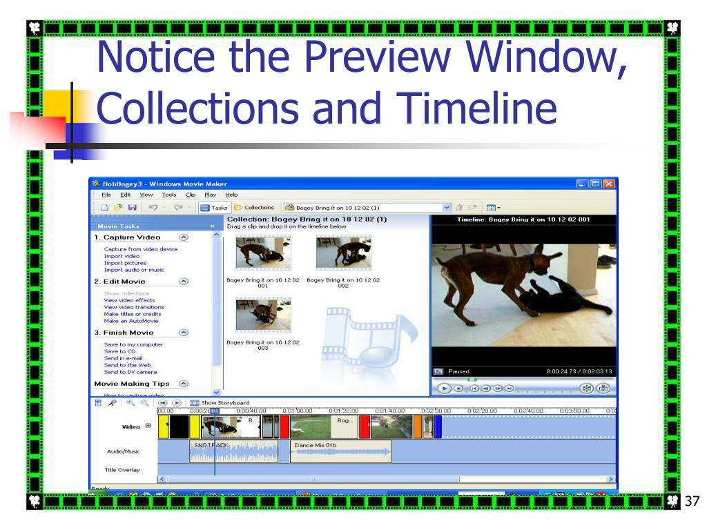 Notice the Preview Window, Collections and Timeline
