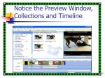notice the preview window collections and timeline