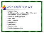 video editor features