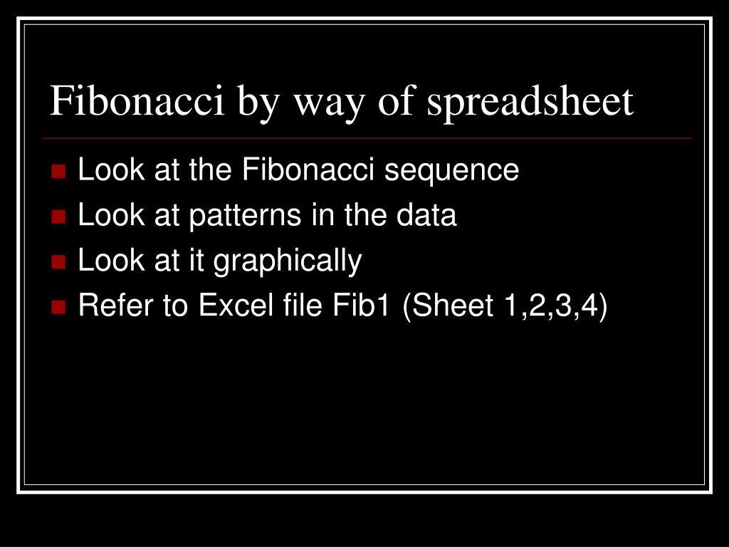 Fibonacci by way of spreadsheet