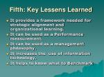 fifth key lessens learned