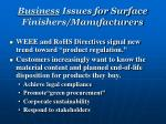 business issues for surface finishers manufacturers