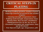 critical steps in plating