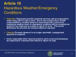 article 19 hazardous weather emergency conditions
