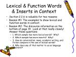 lexical function words inserts in context
