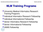 nlm training programs