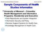 sample components of health studies informatics