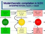 model theoretic compilation in ilex interpretation alex olex