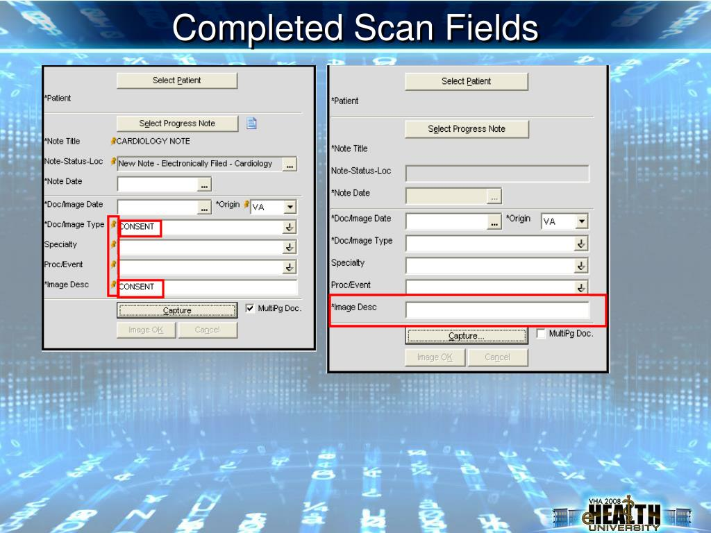 Completed Scan Fields