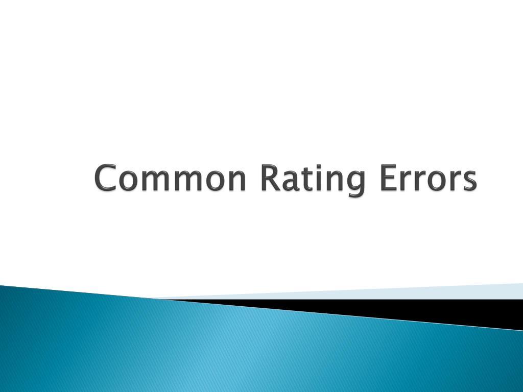 common rating errors l.