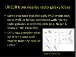 uhecr from nearby radio galaxy lobes