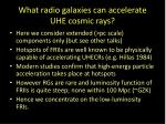 what radio galaxies can accelerate uhe cosmic rays