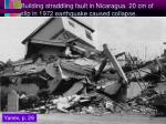 building straddling fault in nicaragua 20 cm of slip in 1972 earthquake caused collapse