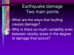 earthquake damage two main points