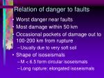relation of danger to faults