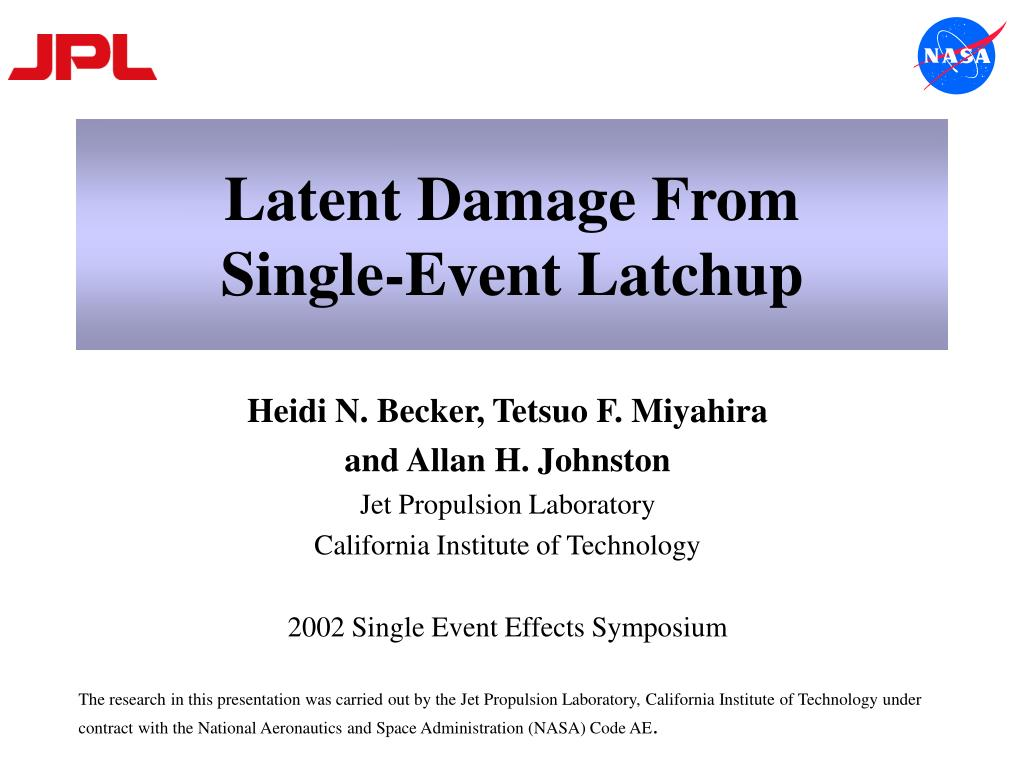 latent damage from single event latchup l.