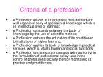 criteria of a profession