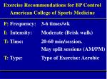 exercise recommendations for bp control american college of sports medicine
