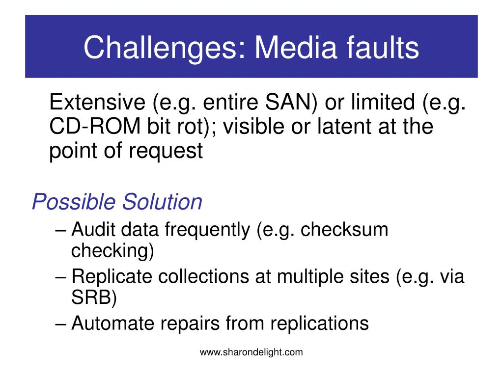 Challenges: Media faults