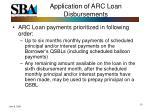 application of arc loan disbursements