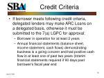 credit criteria