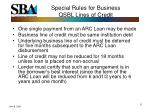 special rules for business qsbl lines of credit