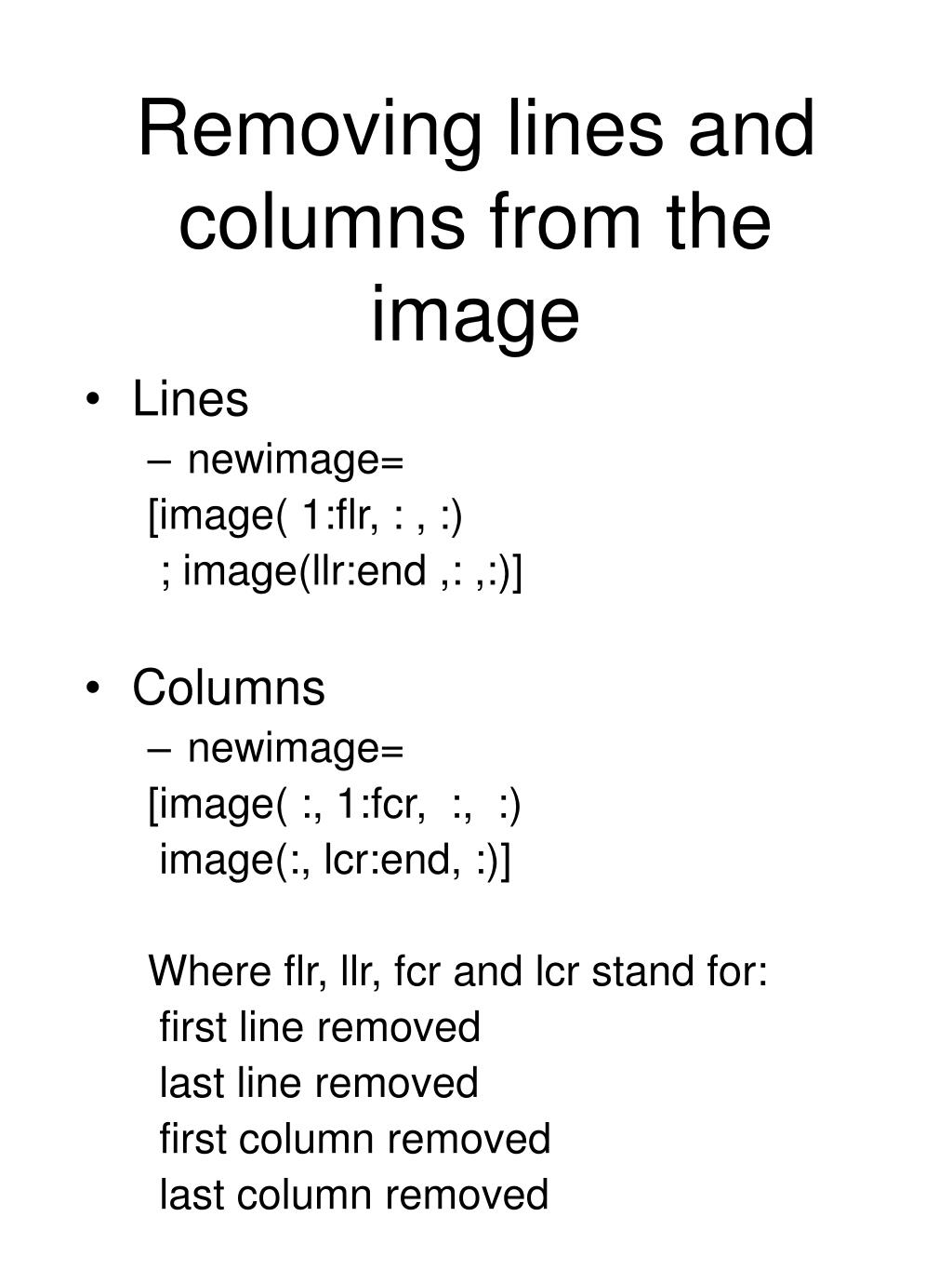 Removing lines and columns from the image