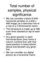 total number of samples physical significance