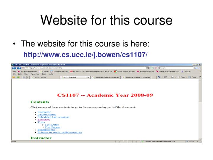 Website for this course