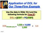 application of dol for our three firm example27