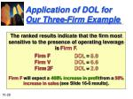 application of dol for our three firm example28