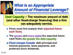 what is an appropriate amount of financial leverage