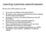 learning outcomes second session