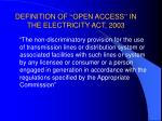 definition of open access in the electricity act 2003