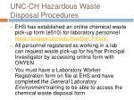 unc ch hazardous waste disposal procedures